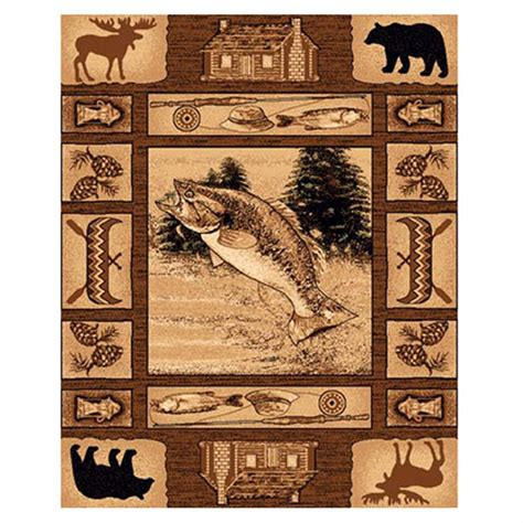 Lodge Area Rugs Donnieann 174 5x8 Lodge Area Rug Brown Fish Canoe Design 215412 Rugs At Sportsman S Guide