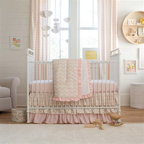 Pale Pink And Gold Chevron 3 Piece Crib Bedding Set Crib Bedding Sets