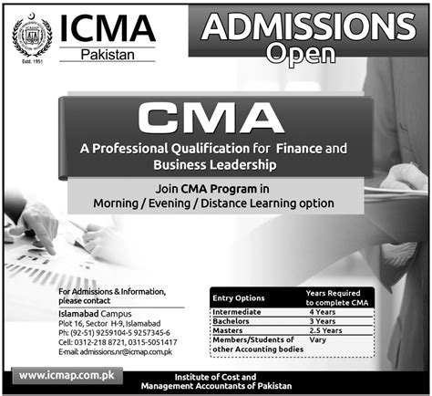 Mba Cost Reddit by Icmap Islamabad Admission Cma 2013