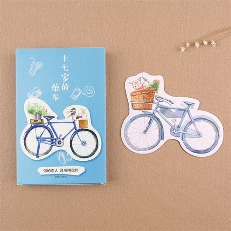 Postcard 30 Pcs 30 pcs lot novelty heteromorphism bicycle postcard cycling