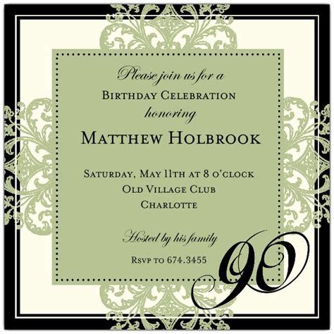printable 90th birthday invitations decorative square border eggplant 90th birthday invitations paperstyle