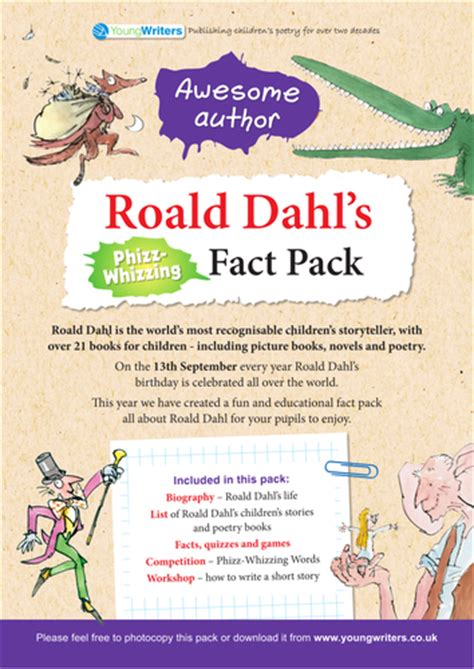 roald dahl ks2 fact pack by youngwriters teaching
