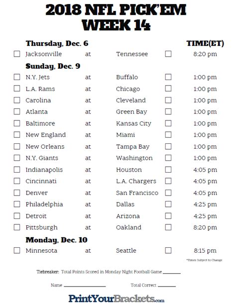 printable nfl schedule for this week printable nfl week 14 schedule pick em pool 2018