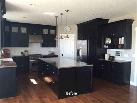 painted black kitchen cabinets before and after projects allen brothers cabinet painting