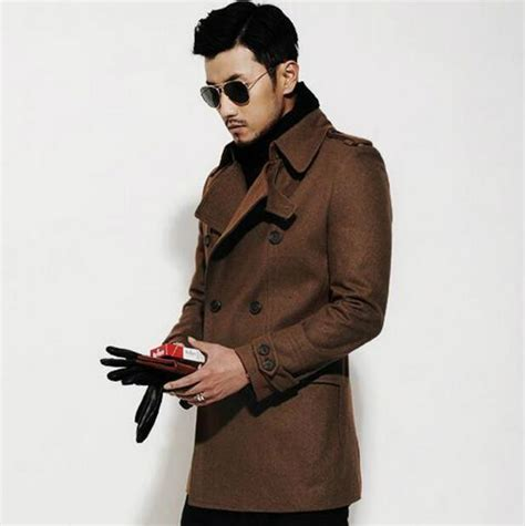 Brilante Mans Black Brown black brown casual sleeve wool coat 2017 jackets and coats mens wool overcoats