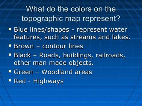 what does the color blue represent topographic maps
