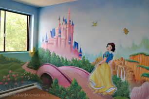 Painting A Mural On A Wall With Acrylic Paint Children S Mural Painting Disney Princesses Montreal