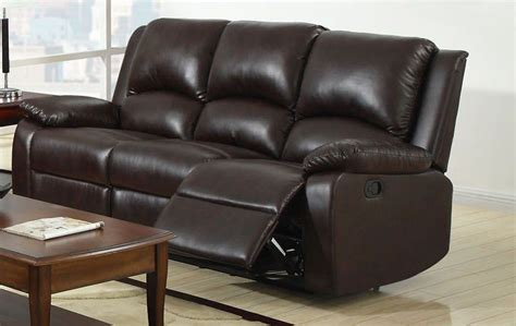 Rustic Reclining Sofa Oxford Rustic Brown Leatherette Reclining Sofa From Furniture Of America Cm6555 S