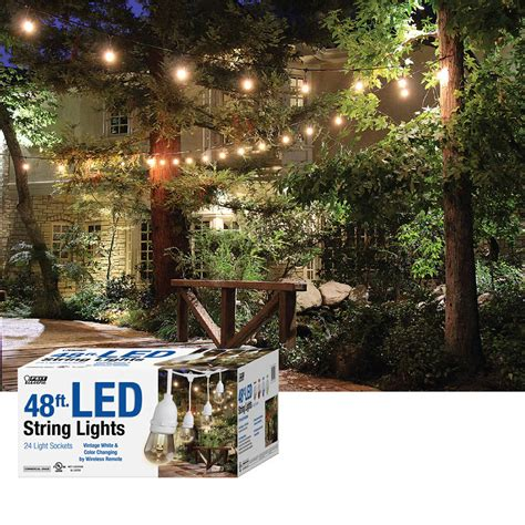 feit electric string lights costco feit 48ft 14 6m led indoor outdoor waterproof colour