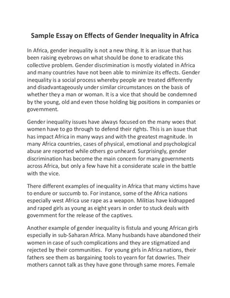 Gender Inequality Essays by Sle Essay On Effects Of Gender Inequality In Africa
