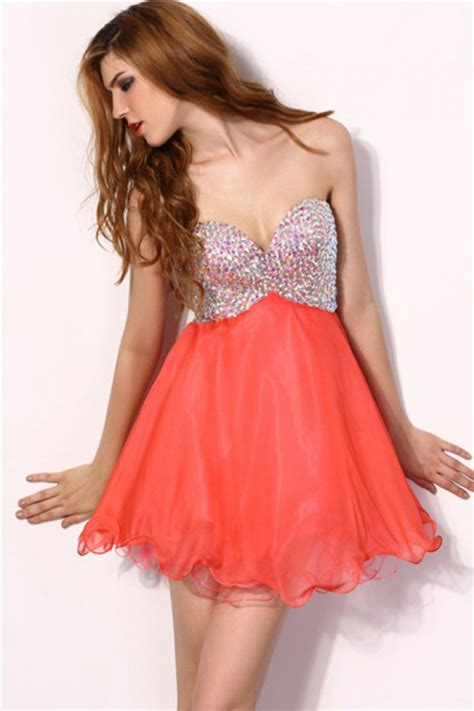 Bright Coral Prom Dresses - strapless sweetheart bright coral chiffon