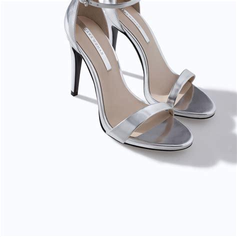 silver high heels sandals zara high heel strappy sandal in metallic lyst
