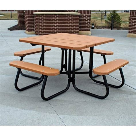 titan 3 x 3 square portable plastic table solid folding legs 48 square recycled plastic table with 3 attached seats