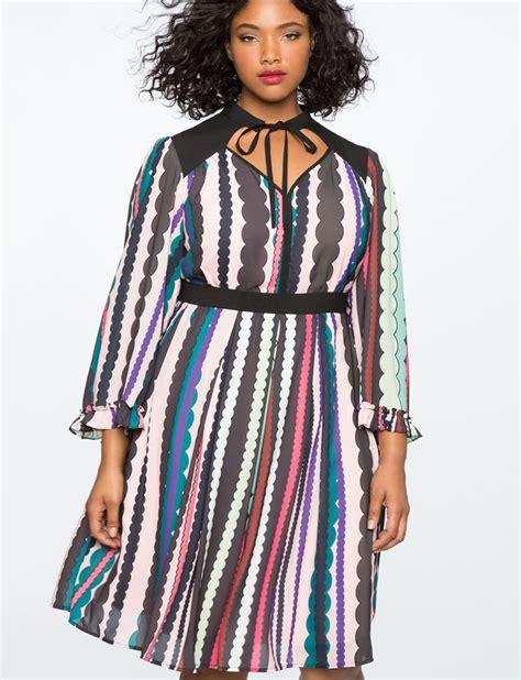 Sleeve Tie Neck Dress tie neck ruffle sleeve dress s plus size dresses