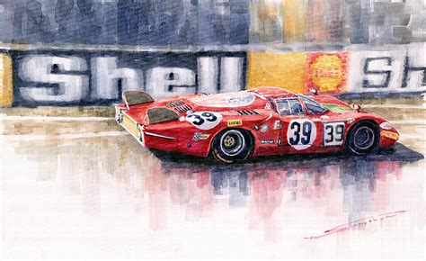Garage Plans Online Alfa Romeo T33 B2 Le Mans 24 1968 Galli Giunti Painting By