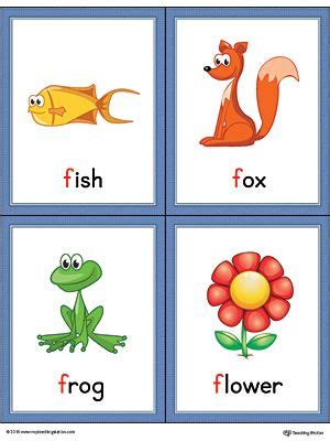 colors that start with f letter f words and pictures printable cards fish fox