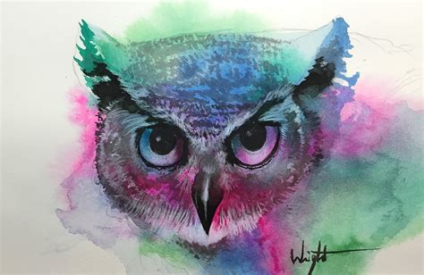 watercolor painting by joel wright owl time lapse