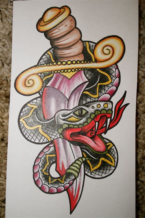 snake and dagger tattoo design snake and dagger design by itchysack on deviantart