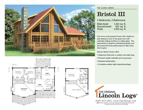 log home floorplan bristol iii the original lincoln logs