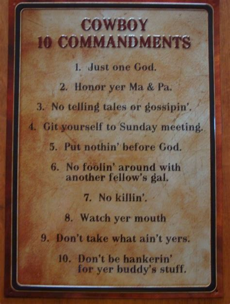 cowboy ten 10 commandments rustic west country western sign home decor new ebay