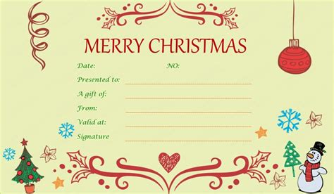 printable gift cards christmas xmas gift certificate template invitation template