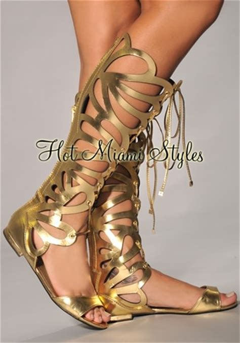 Dress Daster Midi Cleopatra gold cut out knee high gladiator sandals