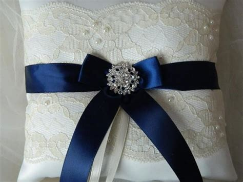 wedding ring bearer pillow navy blue and ivory satin and