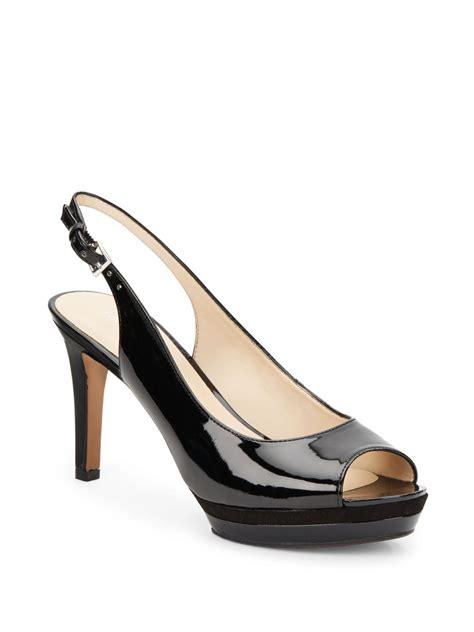 Black Patent Leather Slingback Heels