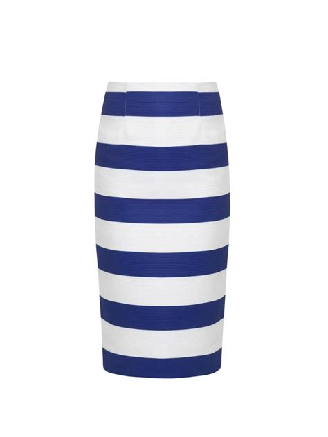 Blue and White Striped Pencil Skirt