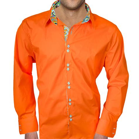 Bright Orange Dress Shirts for Men