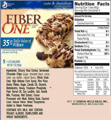 Fiber One Bars Nutritional Information