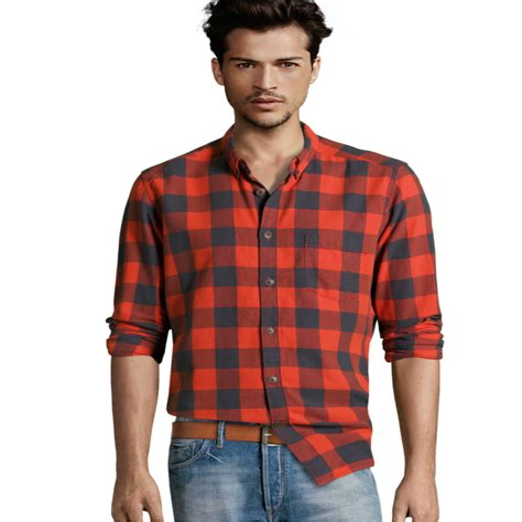 Flannel Shirts Orange Men