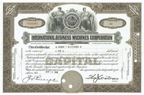 IBM Stock Certificate