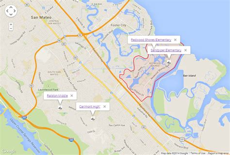 Map of Redwood Shores CA