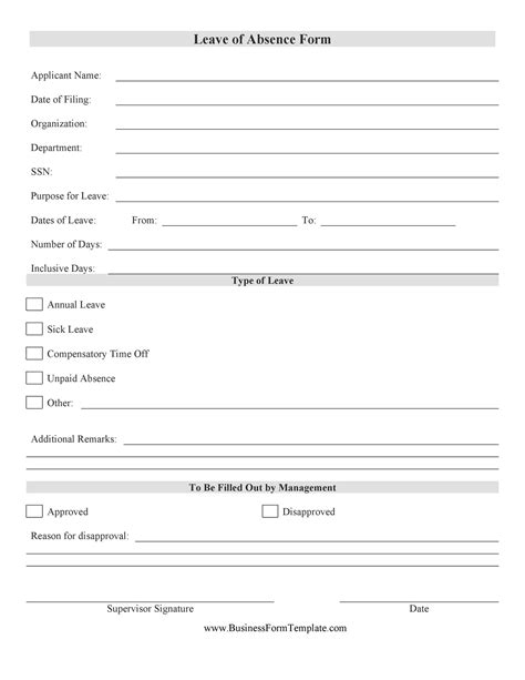 Personal Leave of Absence Form