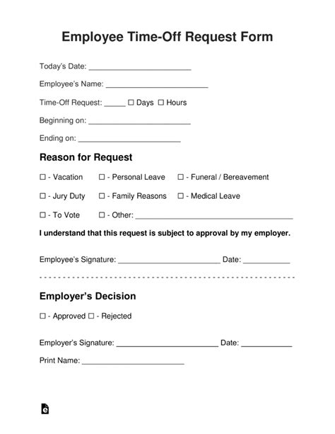 Personal Vacation Leave Request Form