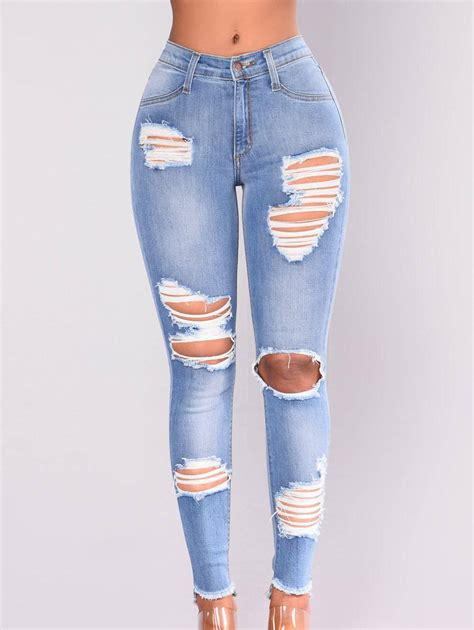 Ripped Destroyed Jeans for Women