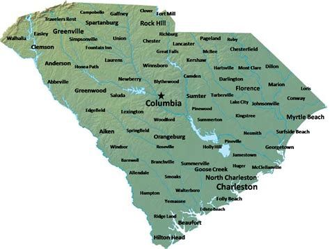 South Carolina Map with Cities Names