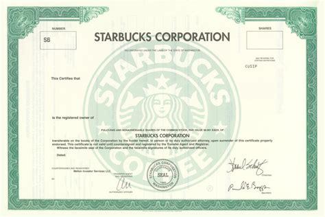 Starbucks Stock Certificate