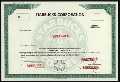 Starbucks Stock Certificate
