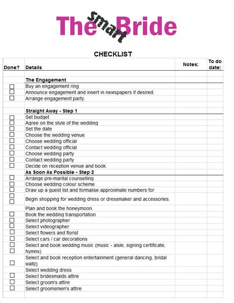 Galerry free printable wedding planner checklist uk Page 2