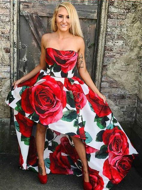 White Red Floral Prom Dress