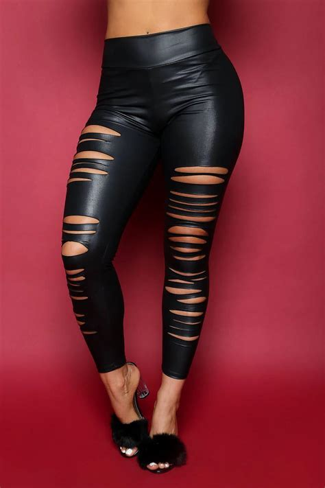 Women's Destroyed Jeans with Leather