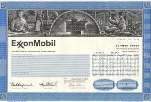 XOM Stock Certificate Specimen