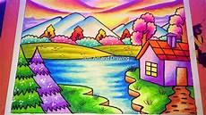 Cara Menggambar Pemandangan Alam Yang Mudah Dengan Crayon