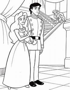 ariel walt disney ariel and prince eric coloring page