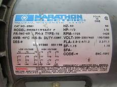 Marathon Electric G581 1 2 Hp Motor 3ph Multivolt 1725rpm