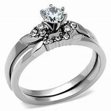 com stainless steel solitaire cz engagement ring and wedding ring jewelry