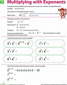 multiplying with exponents worksheet education com