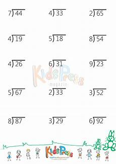 digit division math worksheet two digit by one digit division with remainders